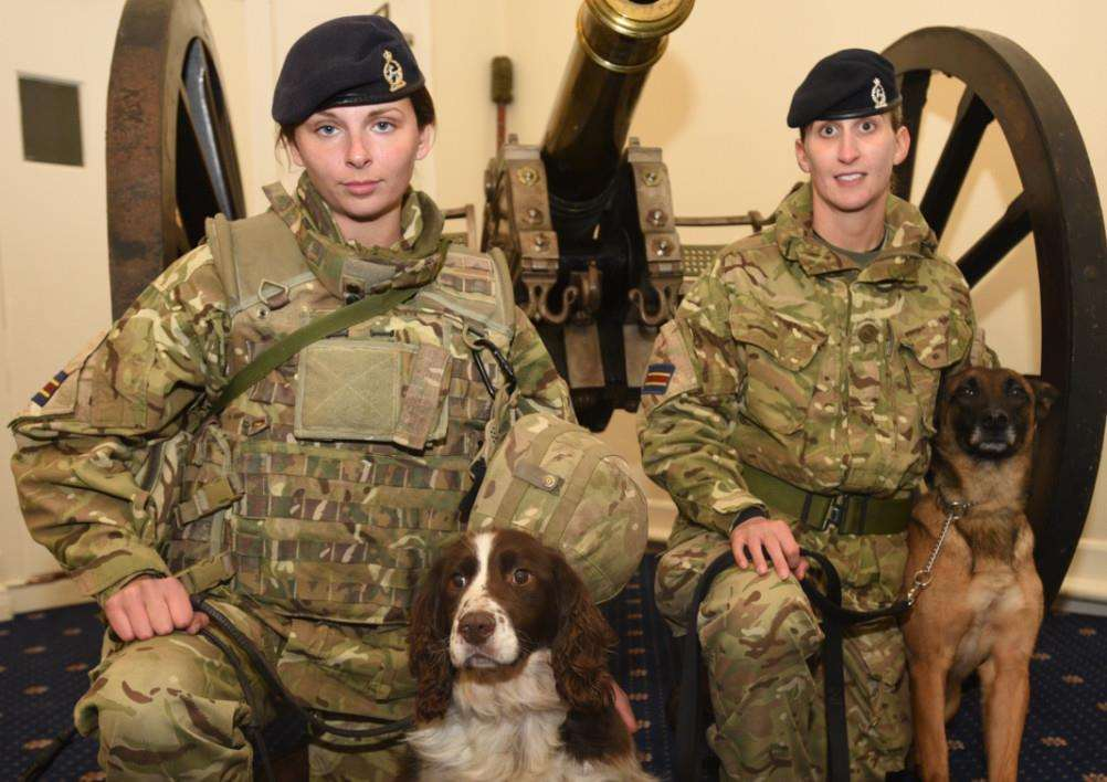 Presentation and demonstration of 1st Military Working Dog regiment at St george's barracks North Luffenham. Private Molie Murphy and dog Jerry with Pte Nicola Parfrement with dog Zarari EMN-151202-091435009