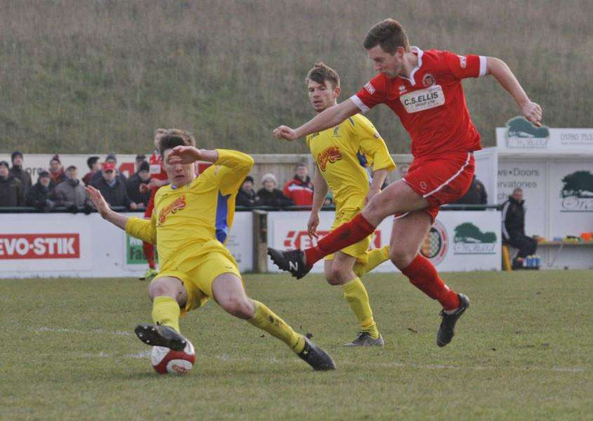 Action from Stamford AFC's win over Matlock Town. Photo: Geoff Atton EMN-160103-104244001