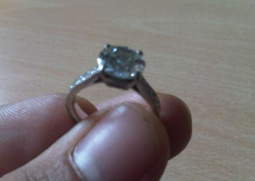 A white gold, two carat diamond ring found in Pickworth, Rutland. Photo: Lincolnshire Police. EMN-150825-160152001