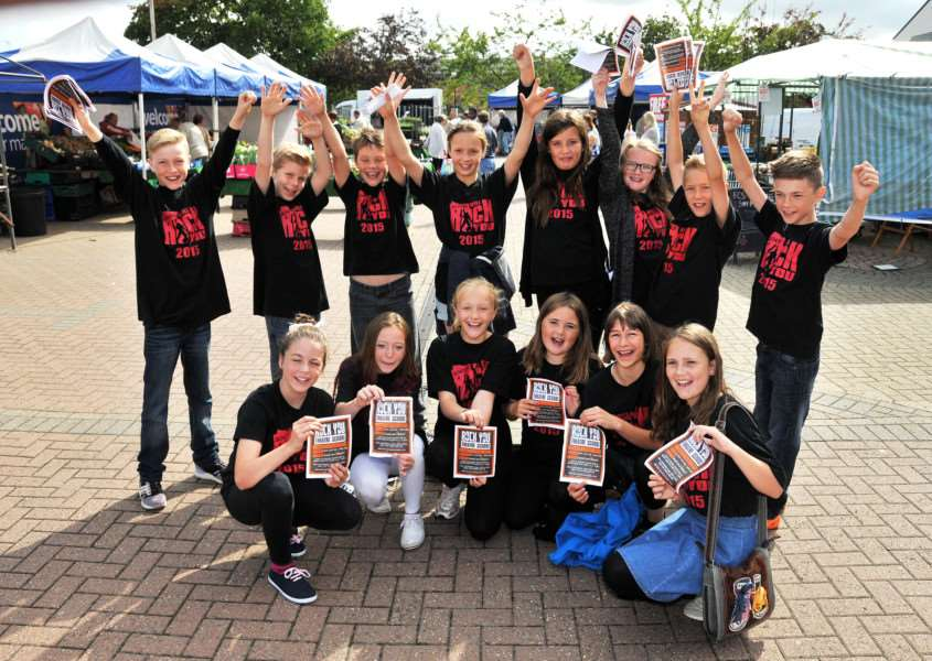 Corn Exchange, Abbey Road, Bourne, The Rock U Theatre School launch with flashmob,'Flashmob hit the market stalls and shoppers ANL-150730-112306001
