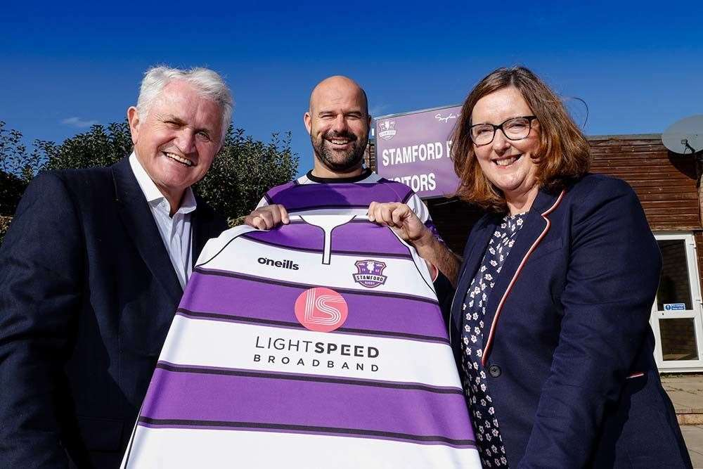 Steve Haines, General Manager of LightSpeed Broadband, Auz Schwartz, Head Coach of Stamford Rugby Club, and Joanne King, Director of Clientele at LightSpeed Broadband.  Photo: Lloyd Rogers