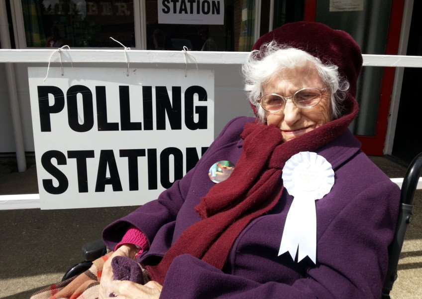 104 year-old Eunice 'Betty' Knight outside the polling station in Boston.