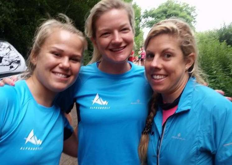 TRAINING PARTNERS: Abi Schofield with two-time world duathlon champion Claire Steels and GB duathlete Bethany Holland.