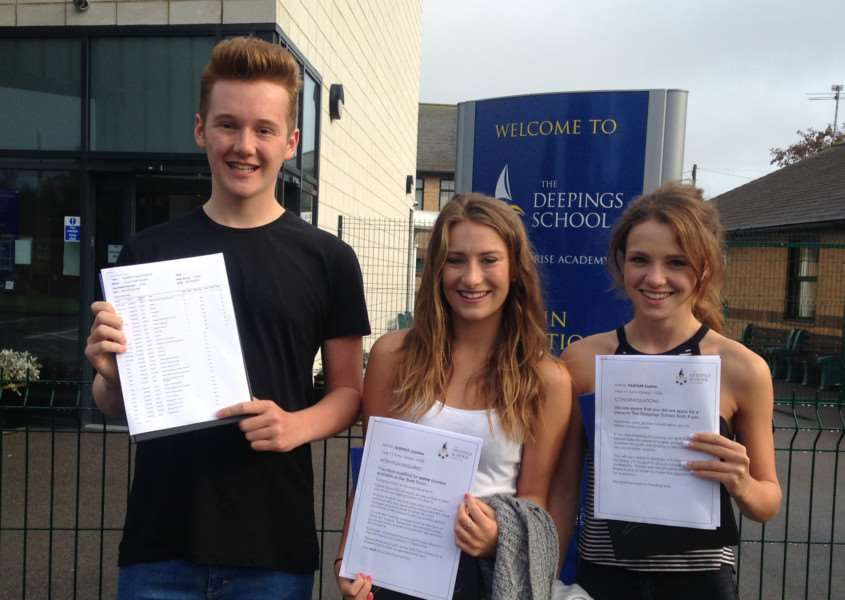Joseph Howard, Jasmine Oldfield and Sophie Partner celebrate their GCSE results at The Deepings School EMN-150820-105145001