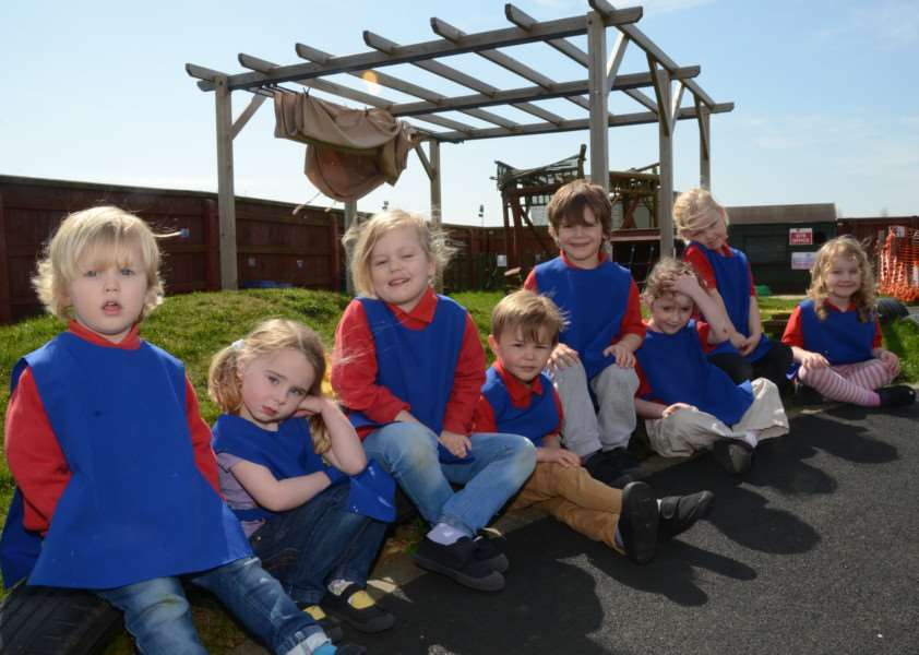 Children from the Langtoft Pre School in their garden which will be re-vamped by the Deeping Round Table EMN-150416-122553009