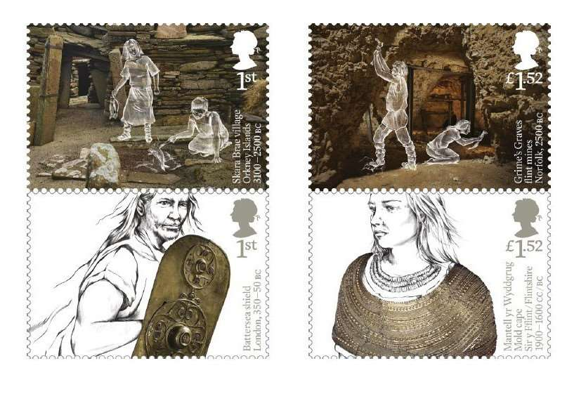Rebecca Strickson has designed eight stamps inspired by objects and atmospheric sites of British prehistory.