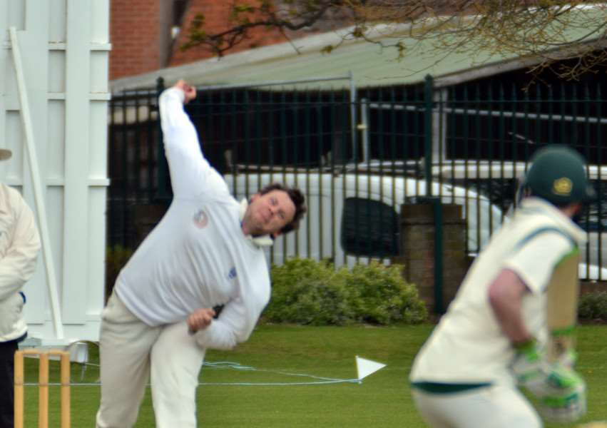 Colin Cheer bowling for Bourne against Grantham. (Photo: Tim Wilson).