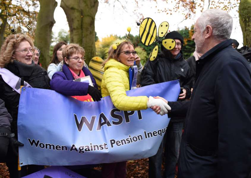 Jeremy Corbyn meets local members of the Women Against Pension Inequality during his visit to Sleaford. Photo: Toby Roberts EMN-161120-164905001