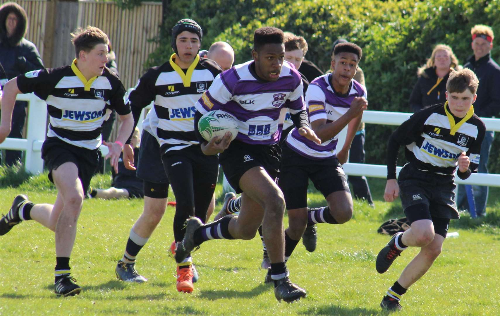 Stamford Rugby Under 15s finished their season on a high with an emphatic 27-0 home win over Rushden & Higham. Photo: Darren Dolby (9815724)