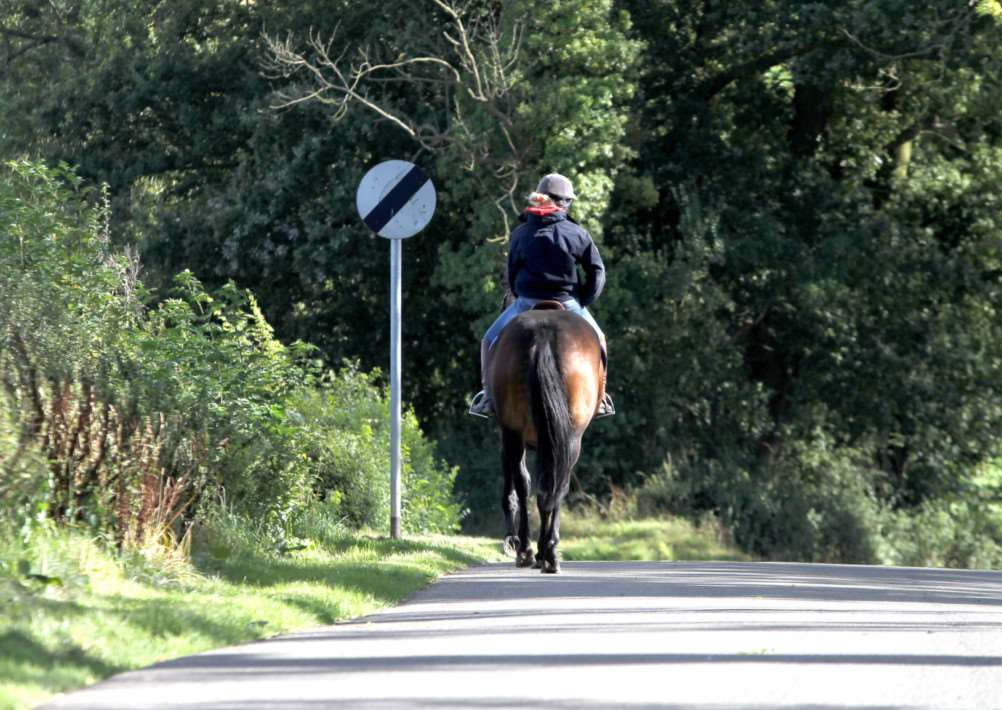 Horse Rider: Gumley: horse on road'Tuesday 18th September 2012 ENGNNL00120120918175217
