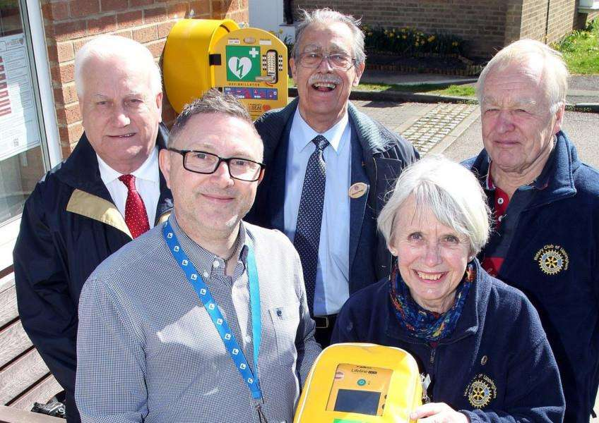 Rotary Club of Uppingham and Longhurst Group members with the new defibrillator installed at Gerard Court. Pictured, Ron Simpson, housing services manager Andy Wright, club president Norman Porter, and members Margaret Simpson and Hugh Holden. Submitted