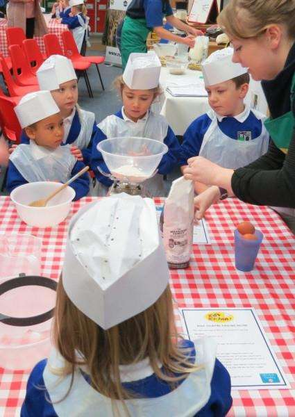 Children at The Bythams Primary School learn about breakfast ingredients as part of Breakfast Week.