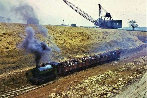 The loco 'Stamford' working an enthusiast railtour of the quarry railway at Pilton in 1966. Photo Copyright RbR