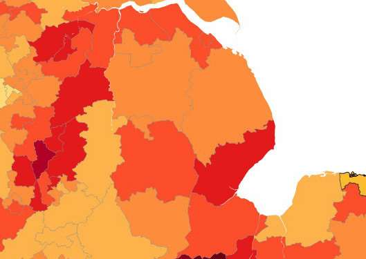 The map shows areas where the petition has been most popular, dark red showing the most signatories