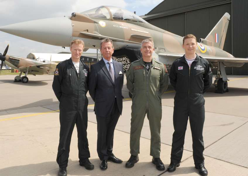 RAF unveils 'Battle of Britain' Tyhoon fighter jet to commemorate the 75th anniversary of Battle of Britain. It was also painted with the 249 squadron ID number of the only Fighter Command pilot awarded with a Victoria Cross, Flight Lieutenant James Brindley Nicolson VC DFC. L-R Flight Lieutenant Antony Parkinson MBE, Jim Nicolson - relative of James Brindley Nicolson, Wing Commander James Heald, and Flight Lieutenant Ben Westoby-Brooks.