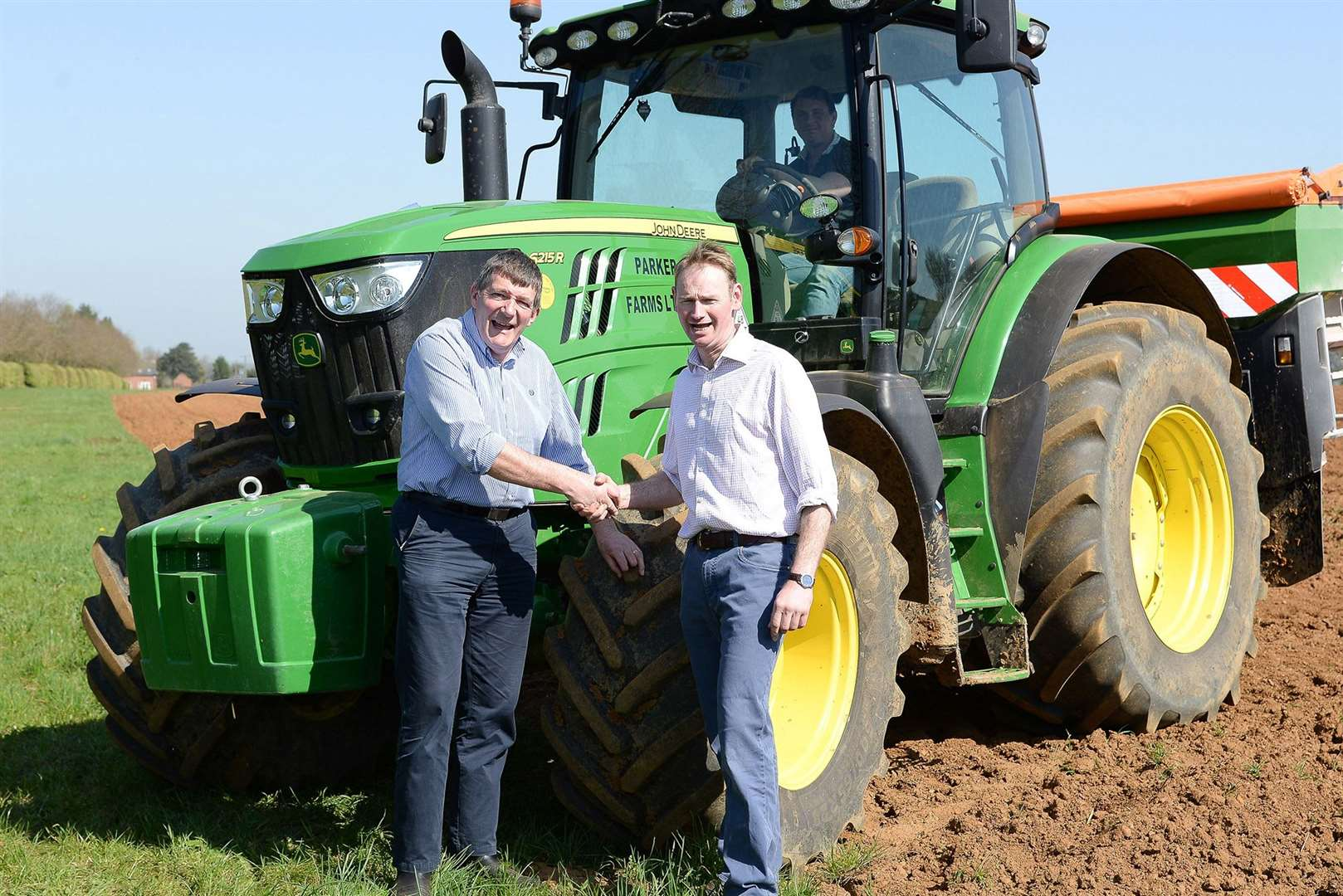 Simon Thompson of Parker Farms meets council leader Oliver Hemsley
