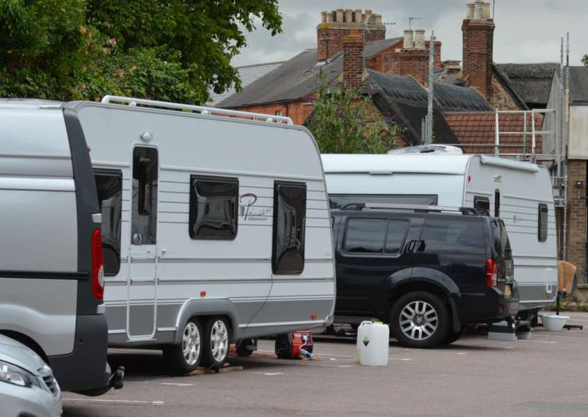 Travellers in Church Street car park, Oakham. Photo: Alan Walters EMN-150728-090458001