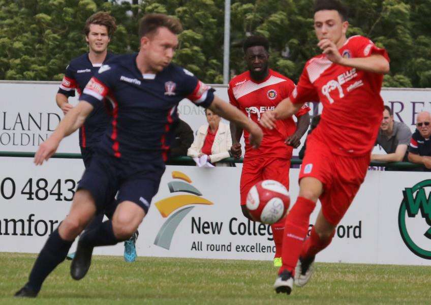 Action from Stamford AFC's opening day defeat to Witton Albion. Photo: Geoff Atton EMN-160816-172115001