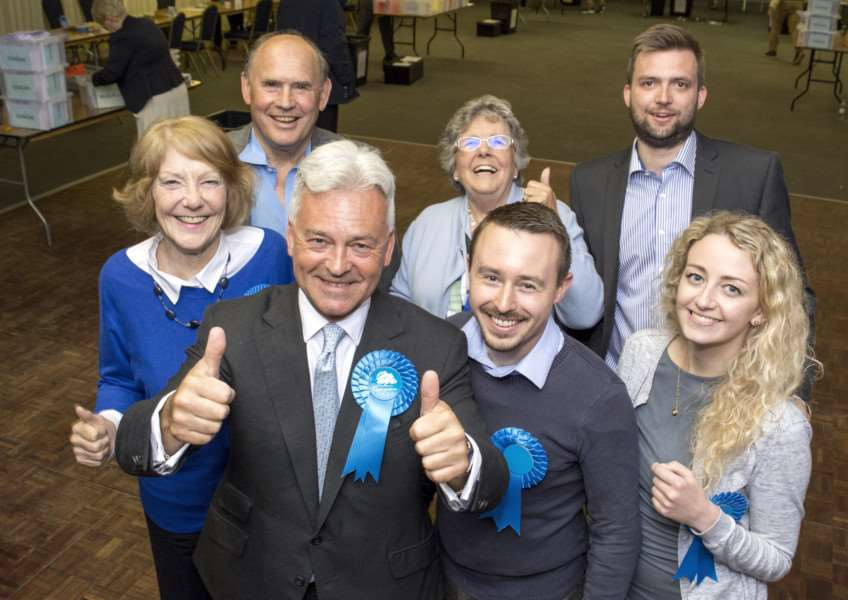 Alan Duncan MP celebrates victory with his supporters