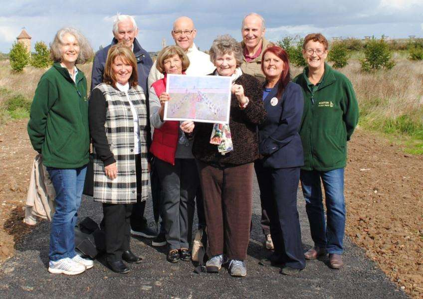 Anne Bourne (front third left) with committee members and supporters of the Lincs Road Victims Memorial at Westgate Wood, Wyberton. Photo supplied by Boston Borough Council.