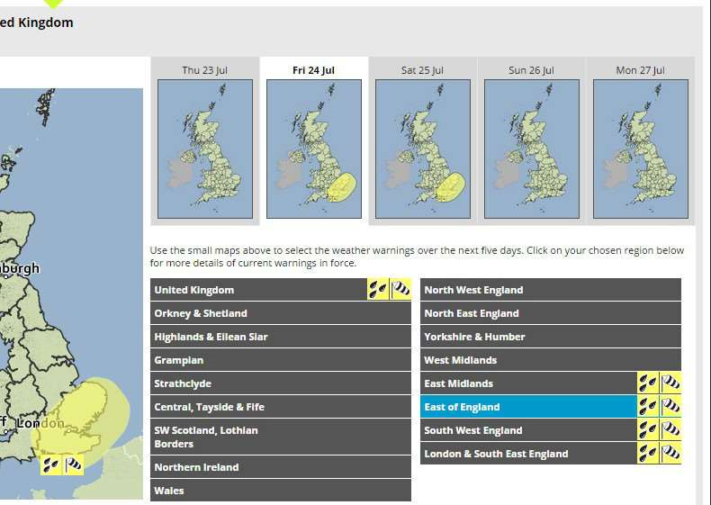 The Met Office have issued a weather warning in the East of England for heavy rain and gusting wind