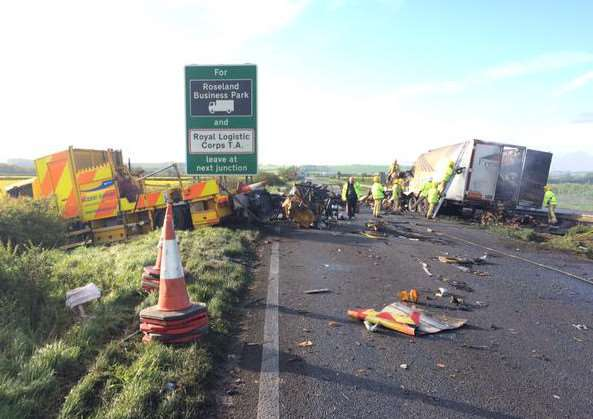 A serious collision and vehicle fire has shut the A1 near Grantham