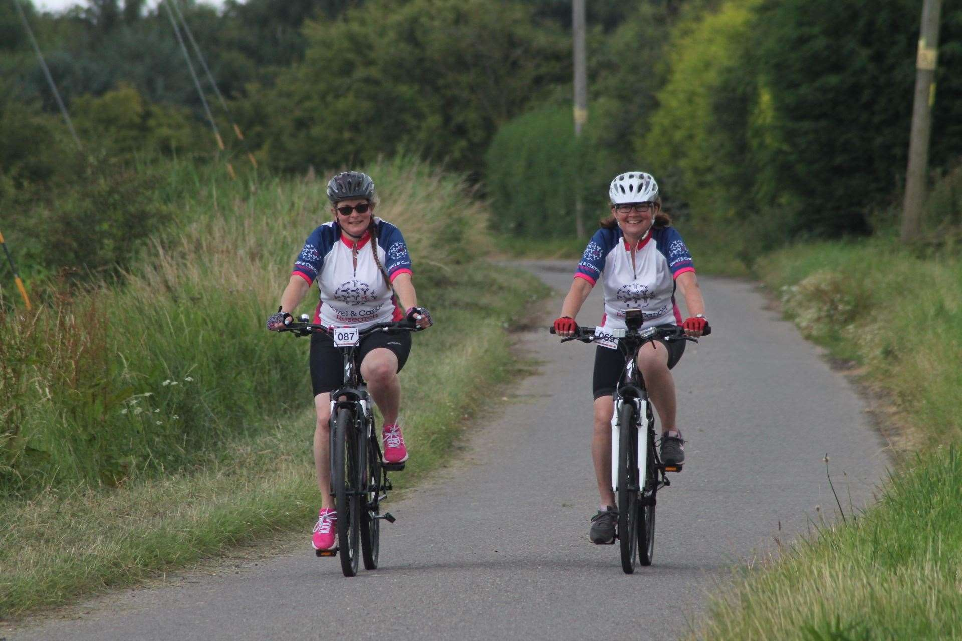 Kay, left, with Jacqui on their bikes
