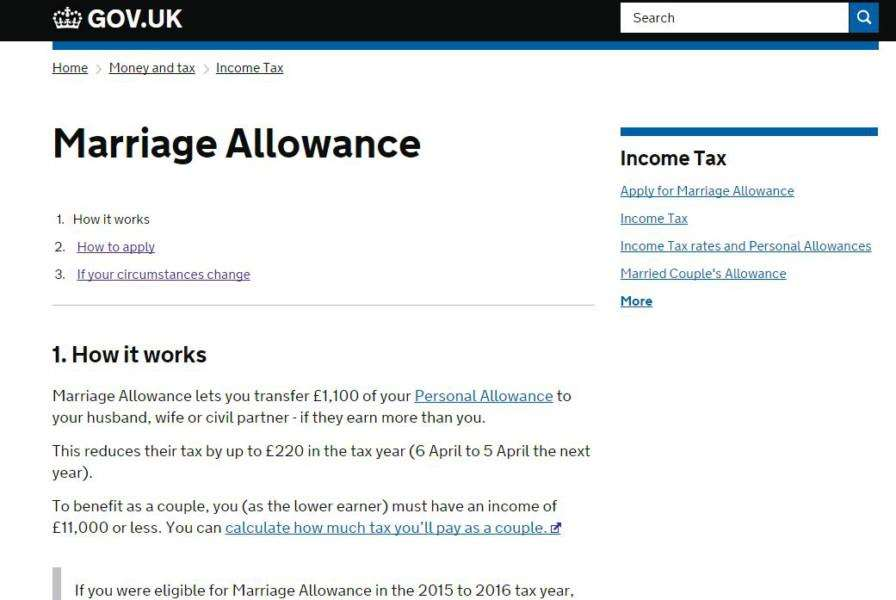 ONLINE: You can claim the marriage allowance online NNL-161205-102956001