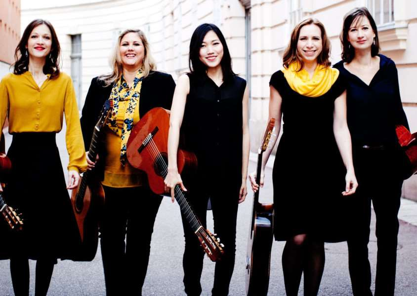 VIENNA STRINGS: Women's guitar quintet Gitarrissima, Olga Dimitrova, Maria Benischek, Ayako Kaisho, Antonina Ovchinnikova and Anna Lesjak, return to Spalding for this month's South Holland Concerts' recital. Photo by Julia Wesely.