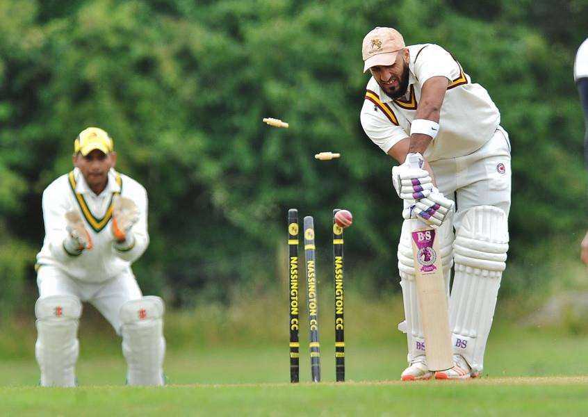 Nassington's Kasim Ikhlaq is bowled in the John Wilcox Trophy win over King's Keys. Photo: David Lowndes.