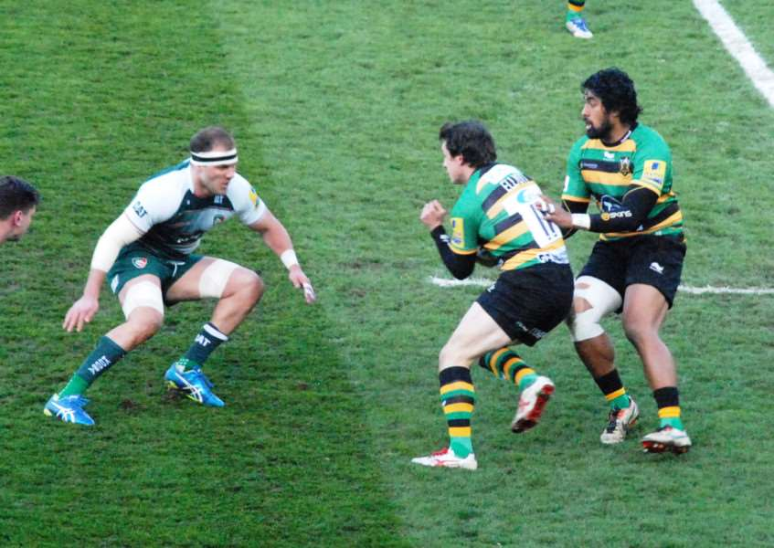Action from Northampton Saints against Leicester Tigers. Photo: John Evely EMN-160419-095921001