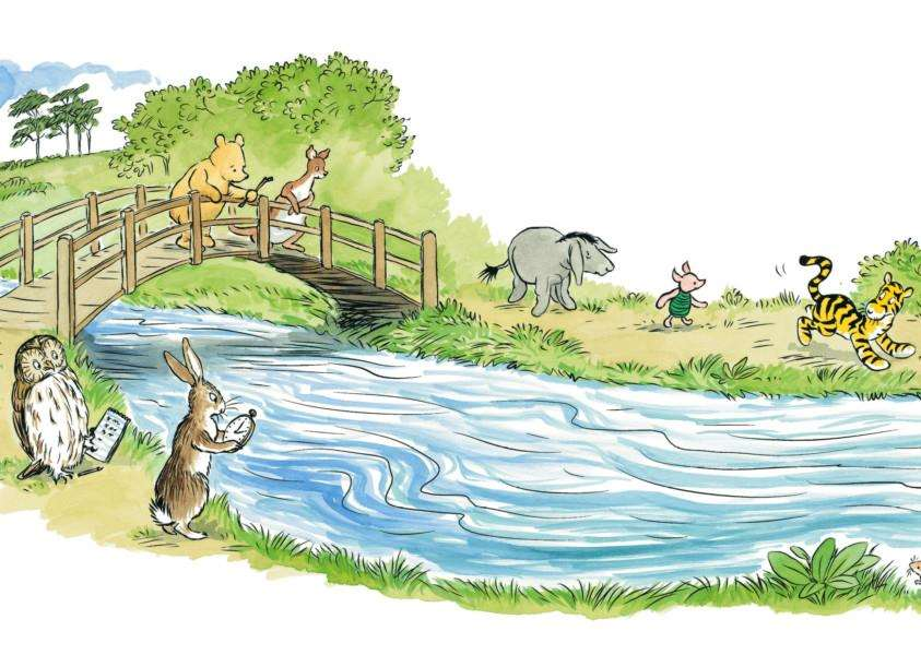 Illustration from 'The Poohsticks Handbook: A Poohstickopedia' by Mark Evans (Egmont Publishing). Illustrations by Mark Burgess after E H Shephard. Copyright 2015 Disney Enterprises Inc. Based on the 'Winnie-the-Pooh' works by A.A. Milne and E.H. Shephard. EMN-150826-091507001