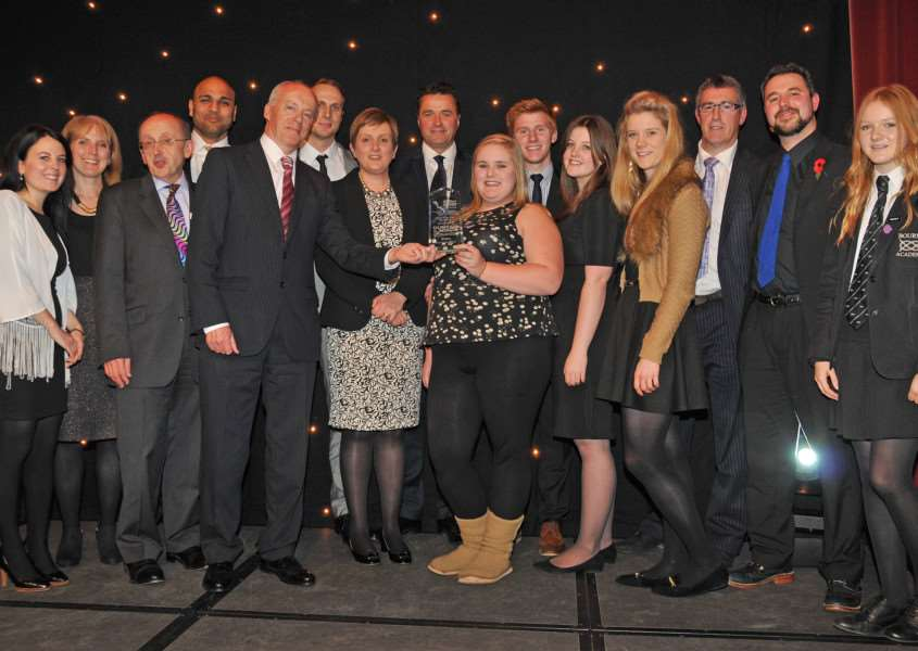 TOP SCHOOL: Students and staff from Bourne Academy which was named School of the Year (Secondary) at the Lincolnshire Free Press and Spalding Guardian Education Awards 2014. Photo by Tim Wilson.