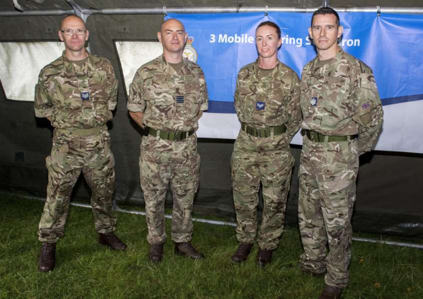 Sgt Steve Harland, Sqn Ldr Steve Micklewight, Cpl Rebecca Davis and Flt Sgt Chris Dupee. By Lee Hellwing.