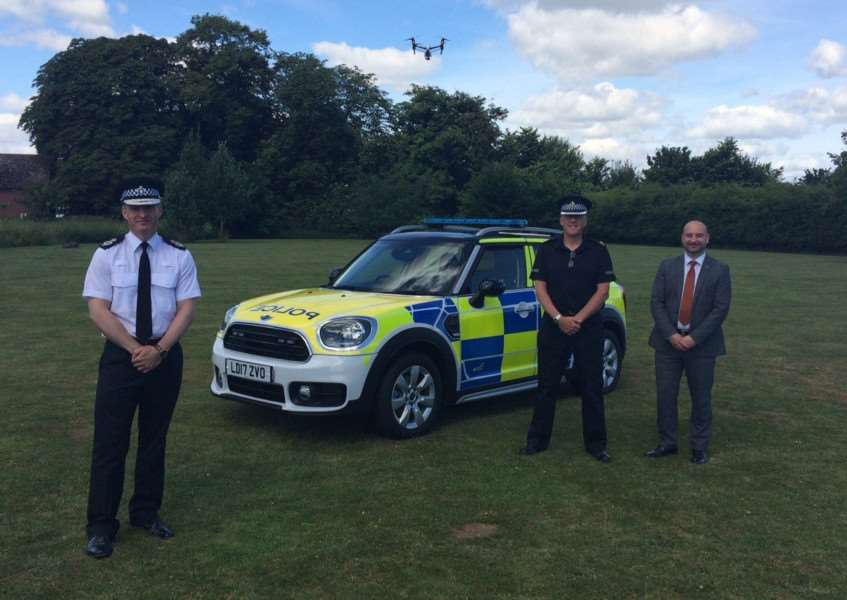 RURAL CRIME PLAN: Bill Skelly, Chief Constable of Lincolnshire Police, Superintendent Mark Housley, force lead for rural crime, and Marc Jones, Police and Crime Commissioner for Lincolnshire, with the new drone which forms part of the county's new Rural Community Safety Strategy. Photo supplied by Lincolnshire Police.